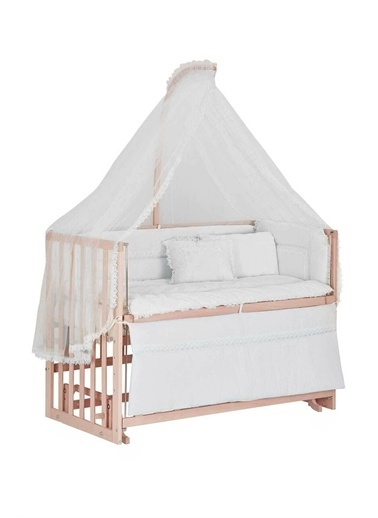 Babycom Naturel Ahşap Boyasız Anne Yanı Beşik 60x120 4 Kademeli  + Kahve Yıldızlı Uyku Seti Beyaz